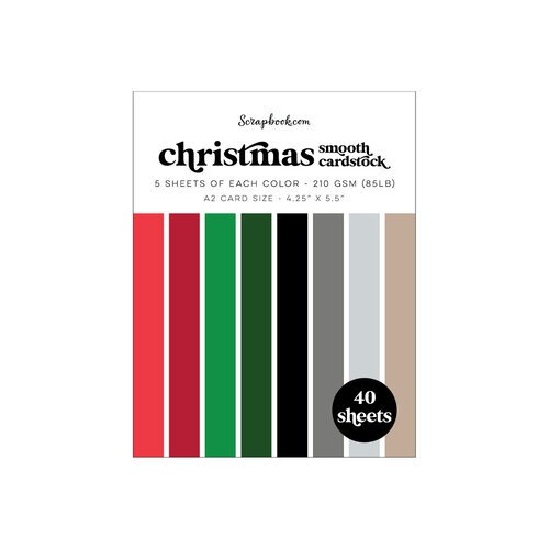 Scrapbook.com - Christmas - Smooth Cardstock Paper Pad - A2 - 4.25 x 5.5 - 40 Sheets