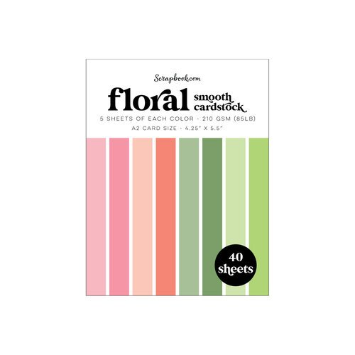 Scrapbook.com - Floral - Smooth Cardstock Paper Pad - A2 - 4.25 x 5.5 - 40 Sheets