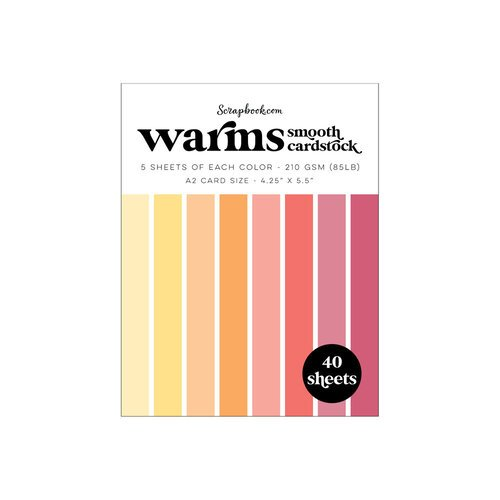 Scrapbook.com - Warms - Smooth Cardstock Paper Pad - A2 - 4.25 x 5.5 - 40 Sheets