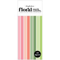 Scrapbook.com - Floral - Smooth Cardstock Paper Pad - Slimline - 3.5 x 8.5 - 40 Sheets