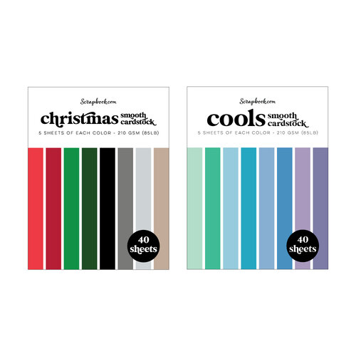 Scrapbook.com - Christmas and Cools - Smooth Cardstock Paper Pads - A2 - 4.25 x 5.5 - 80 Sheets