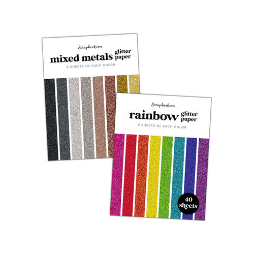 Scrapbook.com - Glitter Paper Pad - A2 - Bundle of 2 Paper Pads - 80 sheets
