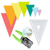 Scrapbook.com - We R Crop-A-Dile Power Punch and Die Bundle - Nested Jumbo Triangle Pennants