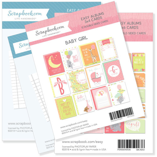Scrapbook.com - 3 x 4 and 4 x 6 - Journaling and Themed Cards for Easy Albums - Baby Pinks Bundle