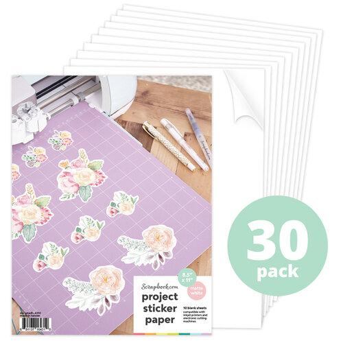 Scrapbook.com - 8.5x11 Sticker Paper - Printable - Matte White - 30 Sheets