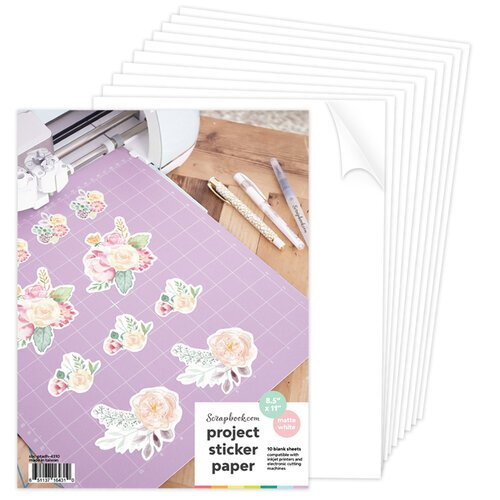 Scrapbook.com - 8.5x11 Sticker Paper - Printable - Matte White - 10 Sheets
