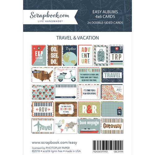 Scrapbook.com - 4 x 6 - Themed Cards for Easy Albums - Travel and Vacation - 24 Pack
