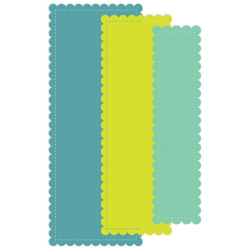 Scrapbook.com - Decorative Die Set - Slimline - Nested Stitched Scalloped Rectangles