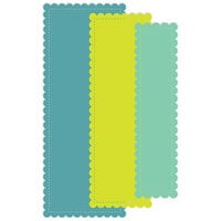 Scrapbook.com - Decorative Die Set - Slimline - Nested Stitched Scalloped Rectangles