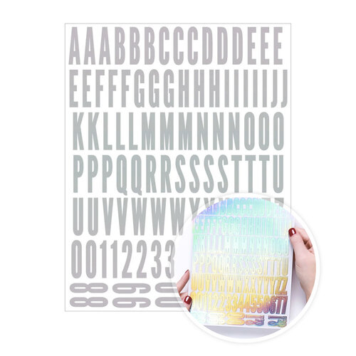 Scrapbook.com - Alphabet Sticker Sheet - Holographic Silver Foil
