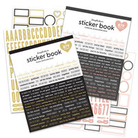 Scrapbook.com - Sticker Book Bundle - Black & White with Gold + Charcoal & Blush with Rose Gold - 2 Pack