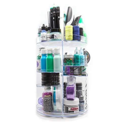 Scrapbook. - 360 Craft Tower - Rotating Organizer - 4 Shelves - Clear