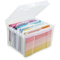 Scrapbook.com - Clear Craft Storage Box - with 6 Tabbed Dividers