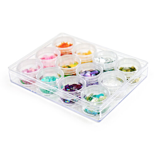 Scrapbook.com - Clear Accessory Containers - 12 pieces with Case - Small