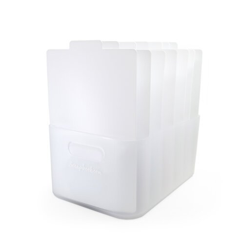 Scrapbook.com - Storage Bin with 7 Tabbed Dividers - Complete Set - Frost with White Inserts