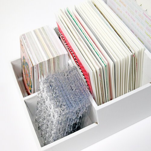 Scrapbook Craft Room Basics - Stadium Organizer - 4 Compartments - White