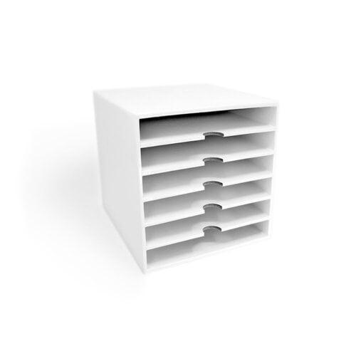 Scrapbook.com - Craft Room Basics - 6x6 Paper Storage - 6 Shelf Box - White