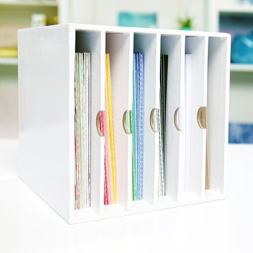Craft Room Basics - 6x6 Paper Storage - 6 Shelf Box - White