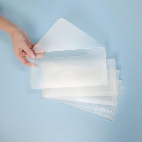 Scrapbook.com - Storage Envelopes - Plastic - 4.5 x 9.5 - Slimline Size - 5 Pack