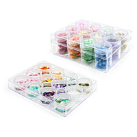Scrapbook.com - Embellishment Jars - 24 Pieces with Storage Cases - Large and Mini Bundle