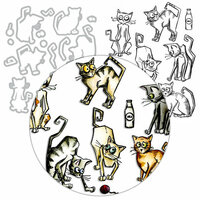 Tim Holtz - Framelits Dies and Cling Mounted Rubber Stamps - Crazy Cats - Complete Kit