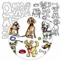 Tim Holtz - Framelits Dies and Cling Mounted Rubber Stamps - Crazy Dogs - Complete Kit