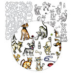 Tim Holtz - Framelits Dies and Cling Mounted Rubber Stamps - MINI Crazy Dogs and Cats - Complete Kit