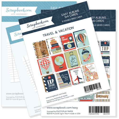 Scrapbook.com - 3 x 4 and 4 x 6 - Journaling and Themed Cards for Easy Albums - Travel and Vacation Bundle