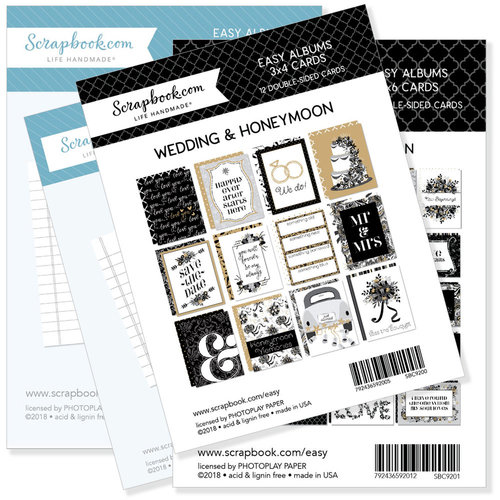 3 x 4 and 4 x 6 - Journaling and Themed Cards for Easy Albums - Wedding and Honeymoon Bundle