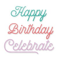 Scrapbook.com - Decorative Die Set - Birthday Celebration Sentiments