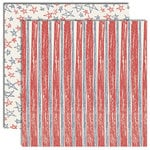 Scribble Scrabble - Double-Sided Paper - Yankee Doodle Collection by Cynthia Coulon - Scribbled Striped Stars