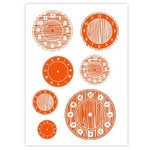 Studio Calico - Elementary Collection - Rub Ons - Clocks - Red