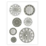 Studio Calico - Elementary Collection - Rub Ons - Clocks - Gray