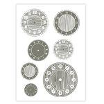 Studio Calico - Elementary Collection - Rub Ons - Clocks - Gray