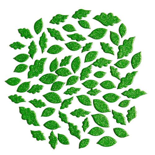Kingston Crafts - Chipboard Shapes - Leaves - Green Glitter