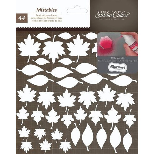American Crafts - Studio Calico - Yearbook Collection - Thickers - Mistable Fabric Stickers - Leaves - White