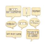 American Crafts - Studio Calico - Yearbook Collection - Wood Veneer Pieces - Speech Bubbles