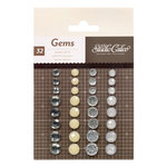 American Crafts - Studio Calico - Darling Dear Collection - Opaque Gems - White, Off-White, Clear