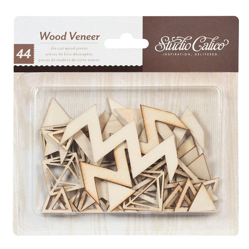 American Crafts - Studio Calico - Darling Dear Collection - Wood Veneer Pieces - Triangles and Diamonds