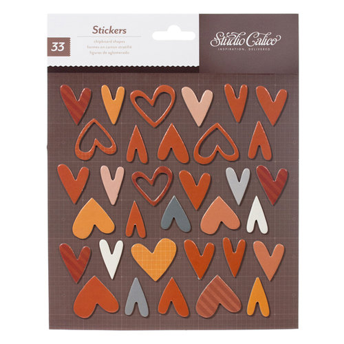 American Crafts - Studio Calico - Darling Dear Collection - 3 Dimensional Stickers - Printed Chipboard - Hearts