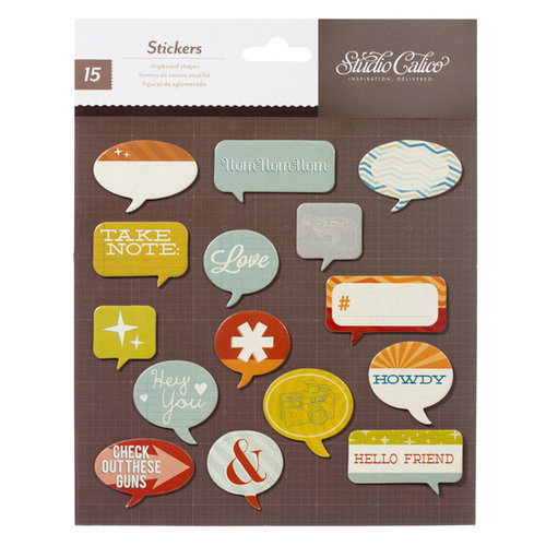 American Crafts - Studio Calico - Darling Dear Collection - 3 Dimensional Stickers - Printed Chipboard - Speech Bubbles