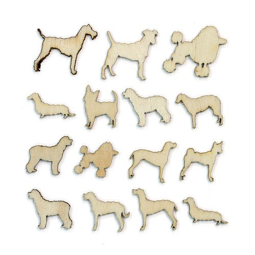 American Crafts - Studio Calico - Here and There Collection - Wood Veneer Pieces - Dogs