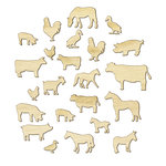 American Crafts - Studio Calico - Here and There Collection - Wood Veneer Pieces - Farm Animals