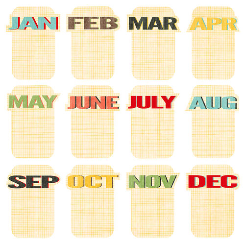 Studio Calico - Snippets Collection - Cardstock Die Cut Pieces - Journal Cards - Months