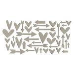 Studio Calico - Chipboard - Grey Hearts and Arrows