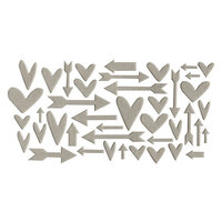 Studio Calico - Chipboard - Grey Hearts and Arrows
