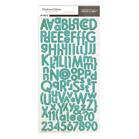 Studio Calico - Memoir Collection - Chipboard Stickers - Alphabet - Teal