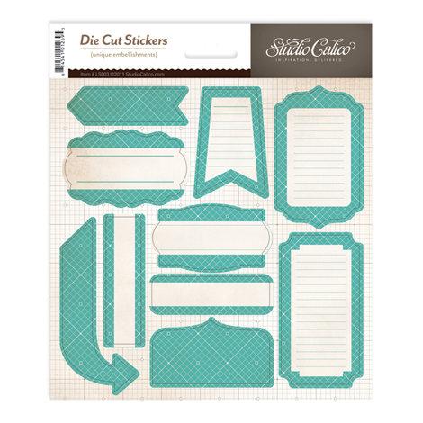 Studio Calico - Memoir Collection - Cardstock Stickers - Labels - Teal