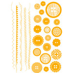 Studio Calico - Anthology Collection - Rub Ons - Buttons - Orange