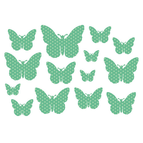 Studio Calico - Countryside Collection - Rub Ons - Butterfly - Green